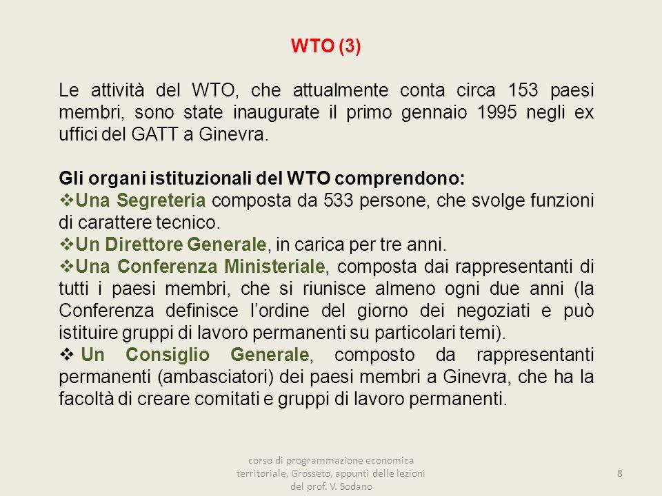WTO (3) Le attività del WTO, che attualmente conta circa 153 paesi membri, sono state inaugurate il primo gennaio 1995 negli ex uffici del GATT a Ginevra.