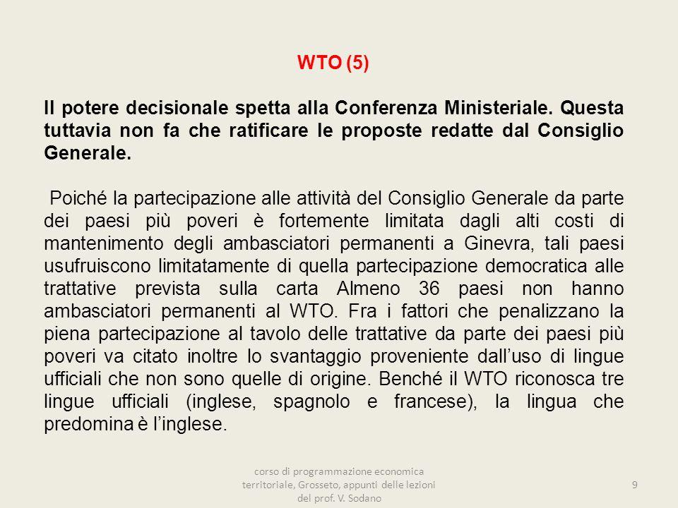 WTO (5) Il potere decisionale spetta alla Conferenza Ministeriale.