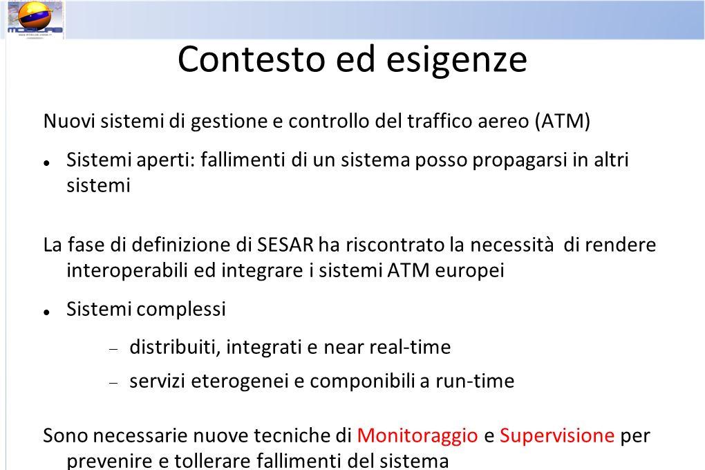 Contesto ed esigenze Nuovi sistemi di gestione e controllo del traffico aereo (ATM) Sistemi aperti: fallimenti di un sistema posso propagarsi in altri