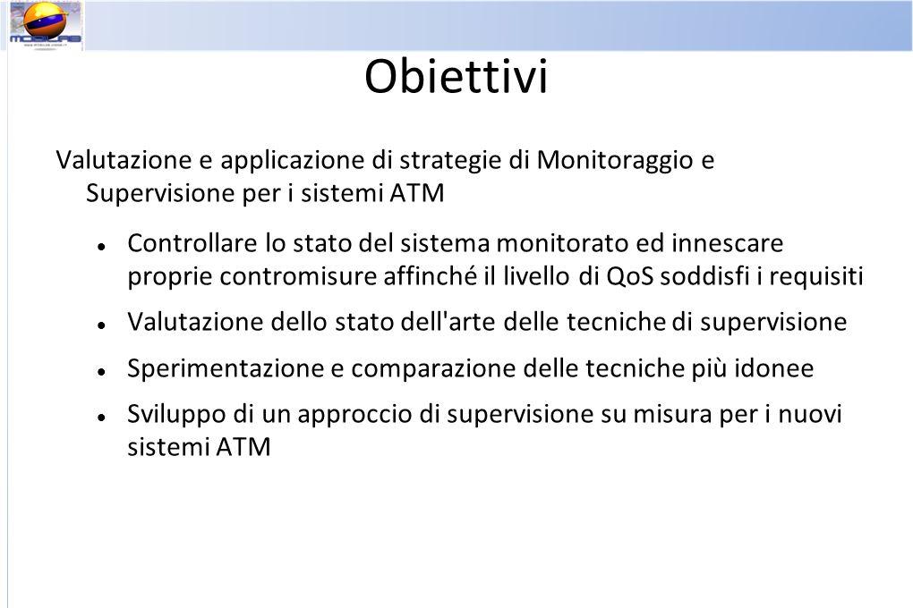 Obiettivi Valutazione e applicazione di strategie di Monitoraggio e Supervisione per i sistemi ATM Controllare lo stato del sistema monitorato ed inne