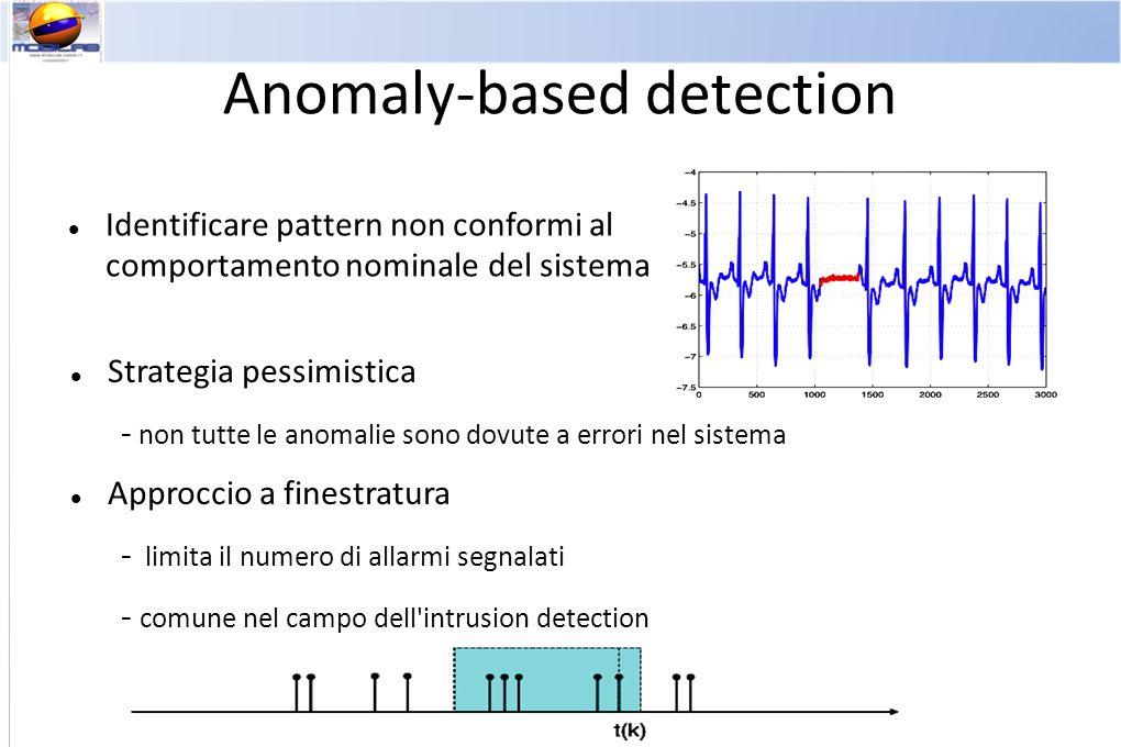 Anomaly-based detection Identificare pattern non conformi al comportamento nominale del sistema Strategia pessimistica - non tutte le anomalie sono dovute a errori nel sistema Approccio a finestratura - limita il numero di allarmi segnalati - comune nel campo dell intrusion detection