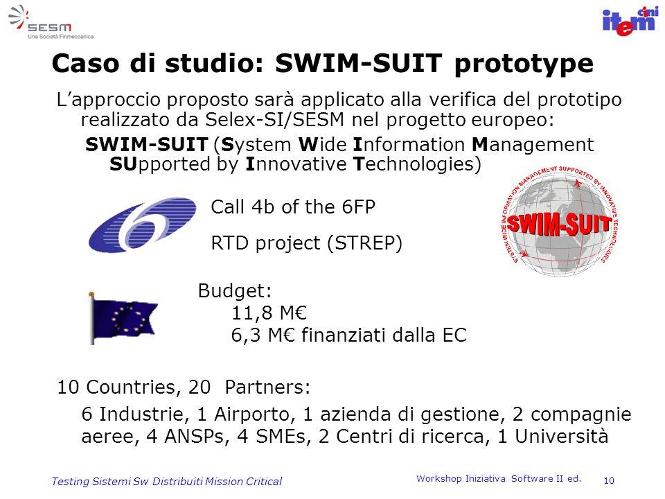 Workshop Iniziativa Software II ed. 10 Testing Sistemi Sw Distribuiti Mission Critical Caso di studio: SWIM-SUIT prototype Lapproccio proposto sarà ap
