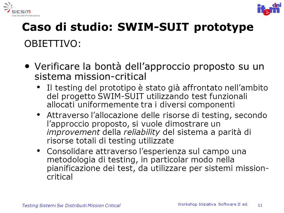 Workshop Iniziativa Software II ed. 11 Testing Sistemi Sw Distribuiti Mission Critical Caso di studio: SWIM-SUIT prototype OBIETTIVO: Verificare la bo