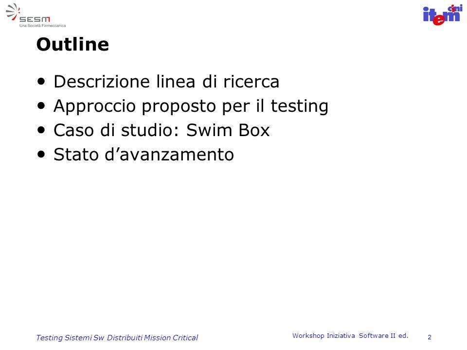 Workshop Iniziativa Software II ed. 2 Testing Sistemi Sw Distribuiti Mission Critical Outline Descrizione linea di ricerca Approccio proposto per il t