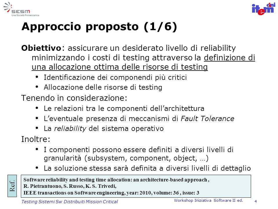 Workshop Iniziativa Software II ed. 4 Testing Sistemi Sw Distribuiti Mission Critical Approccio proposto (1/6) Obiettivo : assicurare un desiderato li