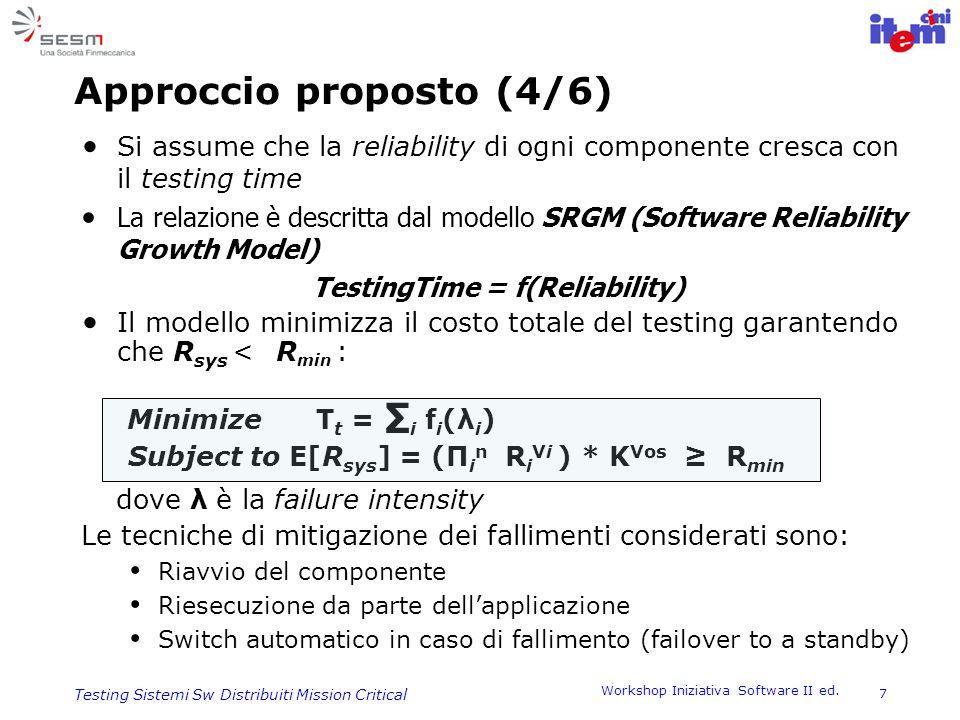 Workshop Iniziativa Software II ed. 7 Testing Sistemi Sw Distribuiti Mission Critical Approccio proposto (4/6) Si assume che la reliability di ogni co