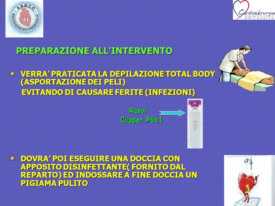 PREPARAZIONE ALLINTERVENTO PREPARAZIONE ALLINTERVENTO VERRA PRATICATA LA DEPILAZIONE TOTAL BODY (ASPORTAZIONE DEI PELI) VERRA PRATICATA LA DEPILAZIONE
