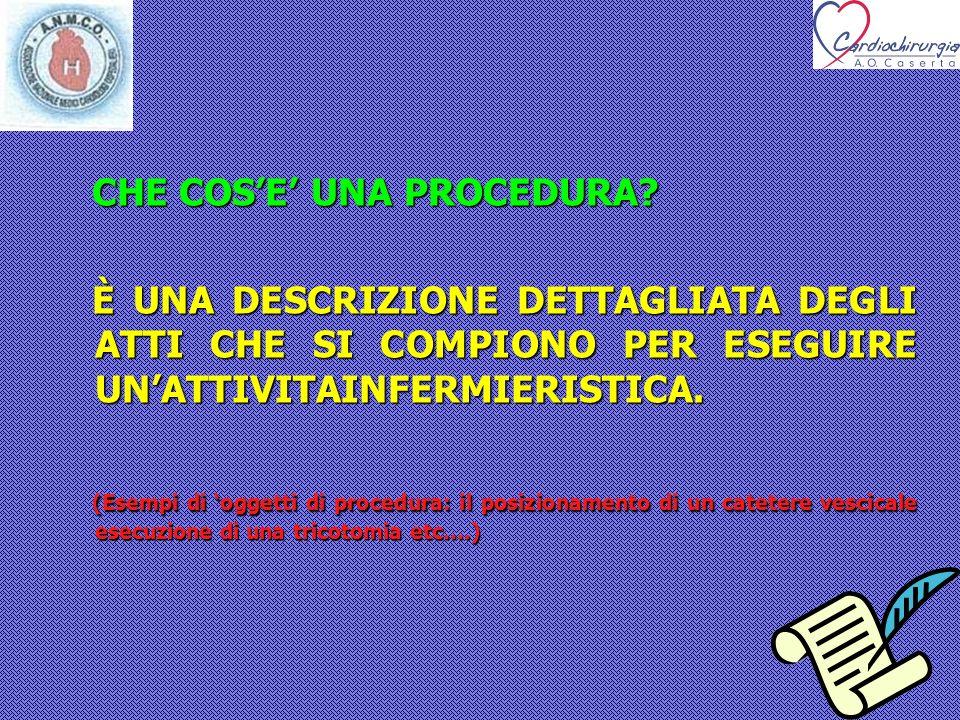 PROCEDURE ASSISTENZIALI DELLEQUIPE INFERMIERISTICA IN CARDIOCHIRURGIA D.A.I.