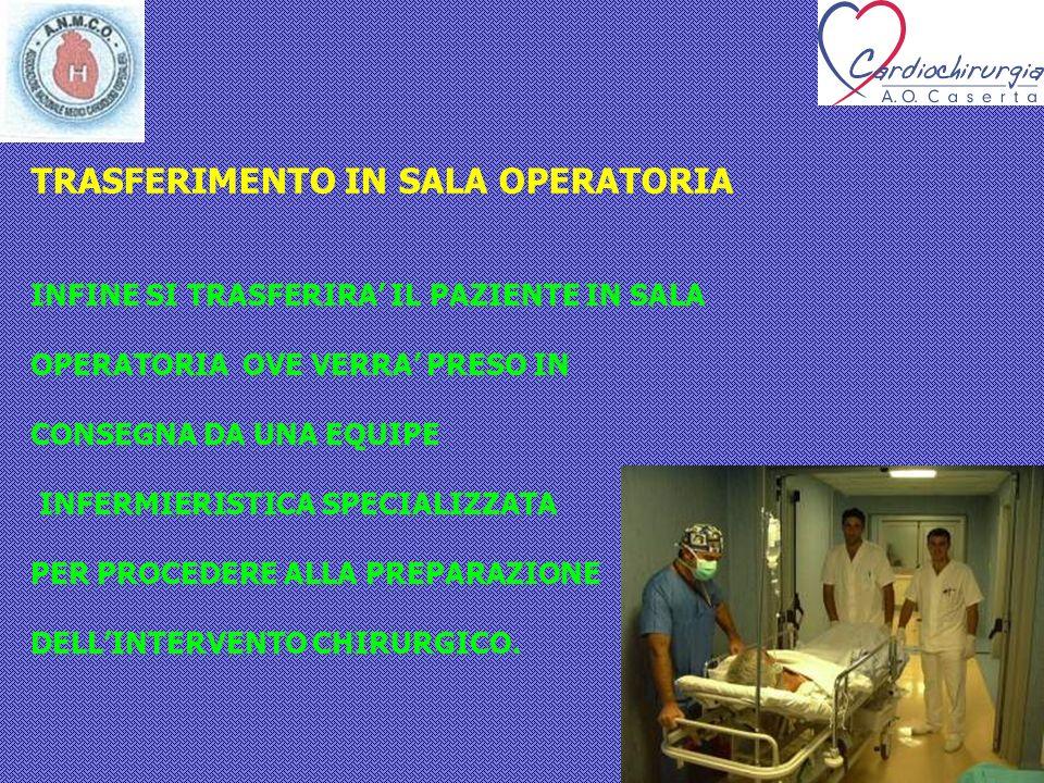 TRASFERIMENTO IN SALA OPERATORIA INFINE SI TRASFERIRA IL PAZIENTE IN SALA OPERATORIA OVE VERRA PRESO IN CONSEGNA DA UNA EQUIPE INFERMIERISTICA SPECIAL