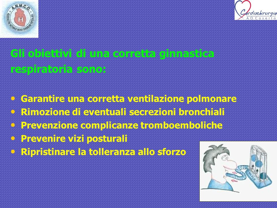 Gli obiettivi di una corretta ginnastica respiratoria sono: Garantire una corretta ventilazione polmonare Rimozione di eventuali secrezioni bronchiali