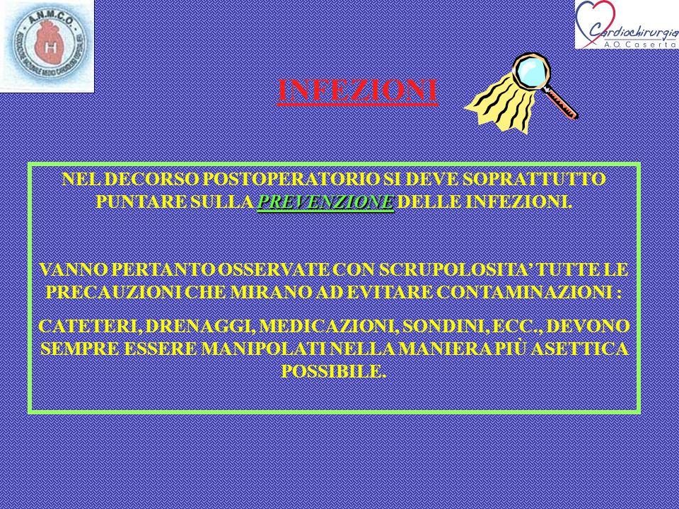INFEZIONI PREVENZIONE NEL DECORSO POSTOPERATORIO SI DEVE SOPRATTUTTO PUNTARE SULLA PREVENZIONE DELLE INFEZIONI. VANNO PERTANTO OSSERVATE CON SCRUPOLOS