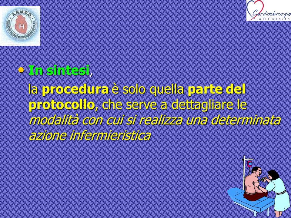 In sintesi, In sintesi, la procedura è solo quella parte del protocollo, che serve a dettagliare le modalità con cui si realizza una determinata azion