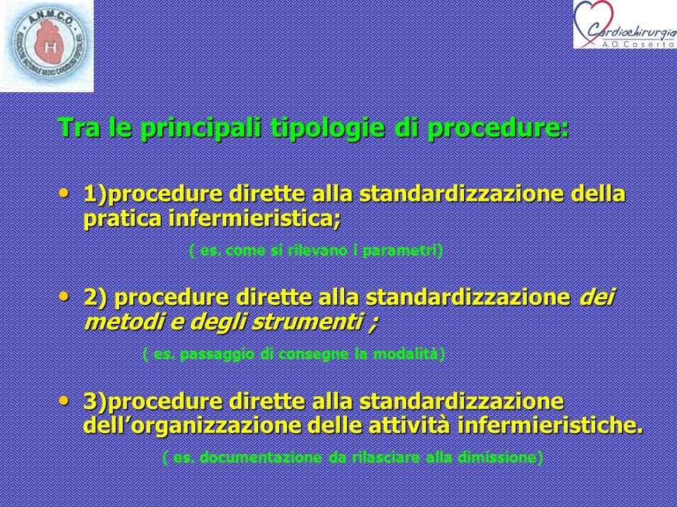 Tra le principali tipologie di procedure: 1)procedure dirette alla standardizzazione della pratica infermieristica; 1)procedure dirette alla standardi