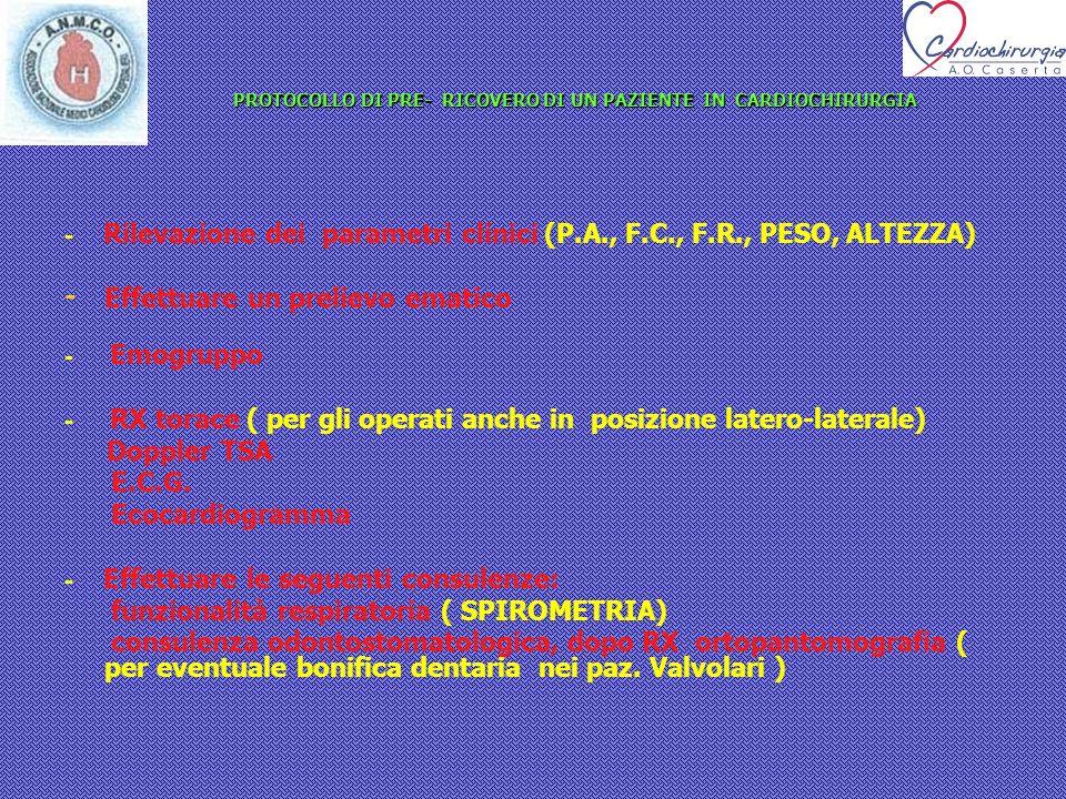 PROTOCOLLO DI PRE- RICOVERO DI UN PAZIENTE IN CARDIOCHIRURGIA PROTOCOLLO DI PRE- RICOVERO DI UN PAZIENTE IN CARDIOCHIRURGIA - Rilevazione dei parametr