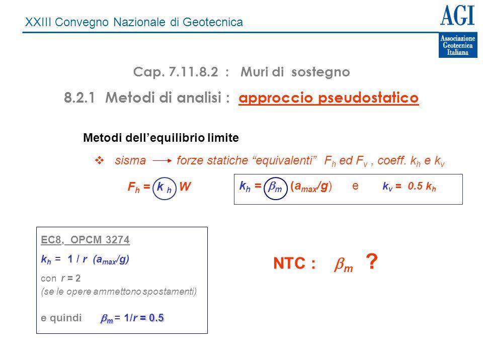 XXIII Convegno Nazionale di Geotecnica Cap. 7.11.8.2 : Muri di sostegno 8.2.1 Metodi di analisi : approccio pseudostatico Metodi dellequilibrio limite