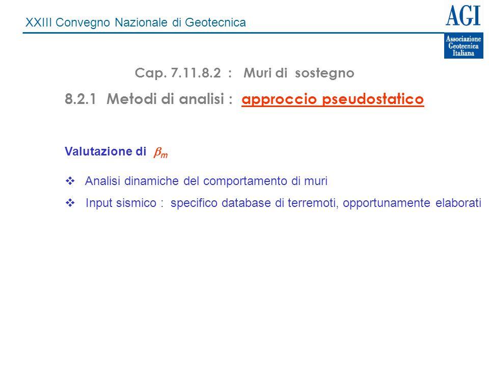 XXIII Convegno Nazionale di Geotecnica Cap. 7.11.8.2 : Muri di sostegno 8.2.1 Metodi di analisi : approccio pseudostatico Valutazione di m Analisi din
