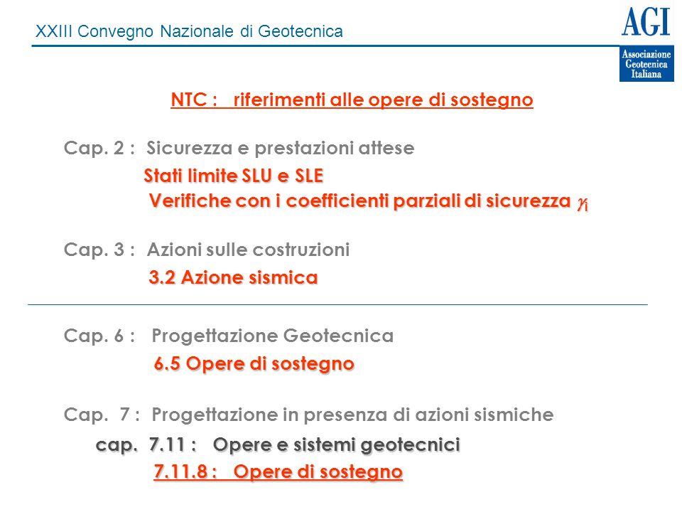 XXIII Convegno Nazionale di Geotecnica NTC : riferimenti alle opere di sostegno Cap. 2 : Sicurezza e prestazioni attese Stati limite SLU e SLE Verific