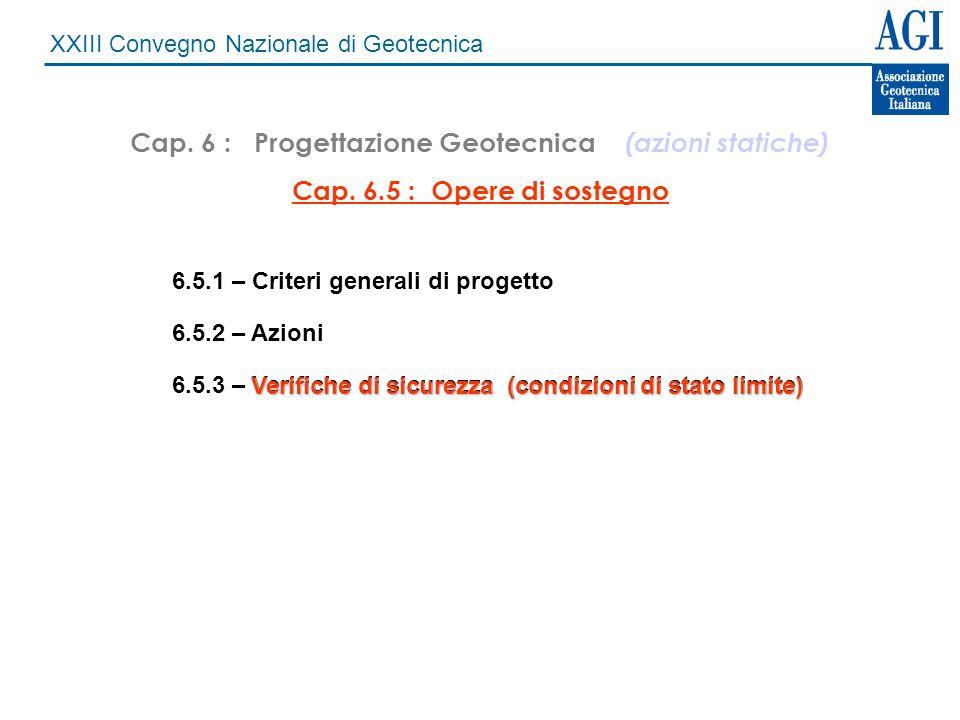 XXIII Convegno Nazionale di Geotecnica Muri di sostegno nel DM 11/03/88 Verifiche allo stato limite ultimo Scorrimento FS = 1,3Ribaltamento FS = 1,5Carico limite FS = 2,0 Verifica globale del pendio FS = 1,3 fino ad oggi :