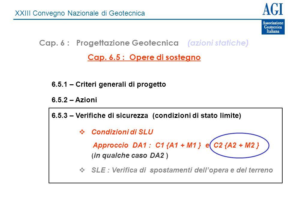 XXIII Convegno Nazionale di Geotecnica Cap. 6 : Progettazione Geotecnica (azioni statiche) Cap. 6.5 : Opere di sostegno 6.5.1 – Criteri generali di pr