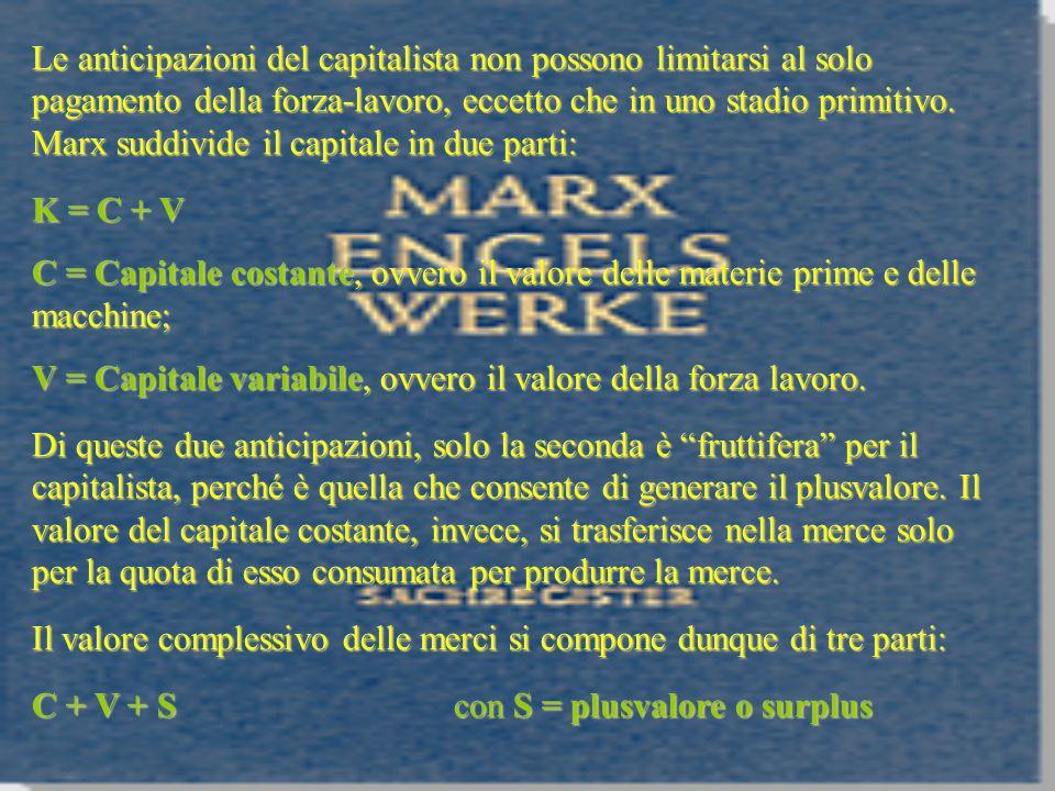 Le anticipazioni del capitalista non possono limitarsi al solo pagamento della forza-lavoro, eccetto che in uno stadio primitivo. Marx suddivide il ca