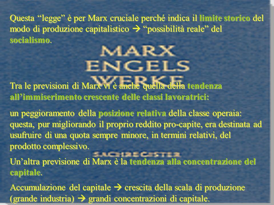 Questa legge è per Marx cruciale perché indica il limite storico del modo di produzione capitalistico possibilità reale del socialismo. Tra le previsi