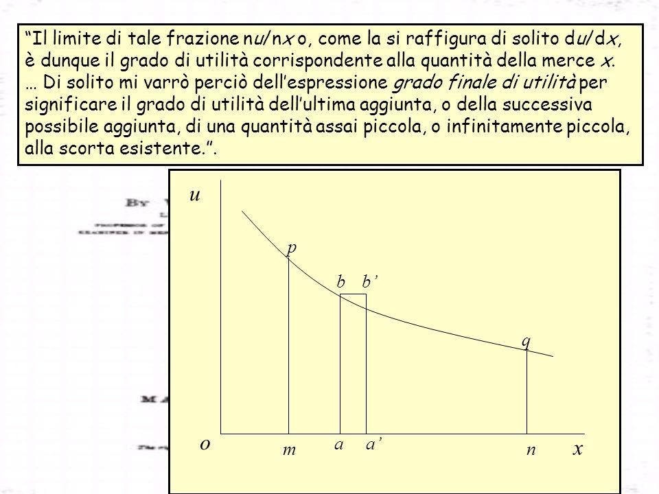 x u o p m aa bb q n Il limite di tale frazione nu/nx o, come la si raffigura di solito du/dx, è dunque il grado di utilità corrispondente alla quantit