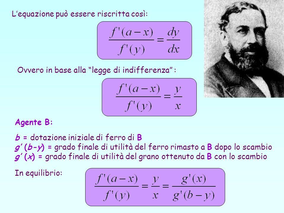 Lequazione può essere riscritta così: Ovvero in base alla legge di indifferenza : Agente B: b = dotazione iniziale di ferro di B g (b-y) = grado final
