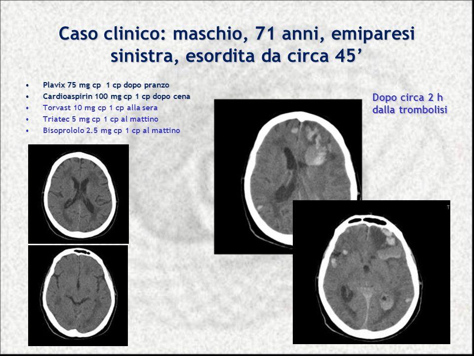 Caso clinico: maschio, 71 anni, emiparesi sinistra, esordita da circa 45 Plavix 75 mg cp 1 cp dopo pranzoPlavix 75 mg cp 1 cp dopo pranzo Cardioaspiri