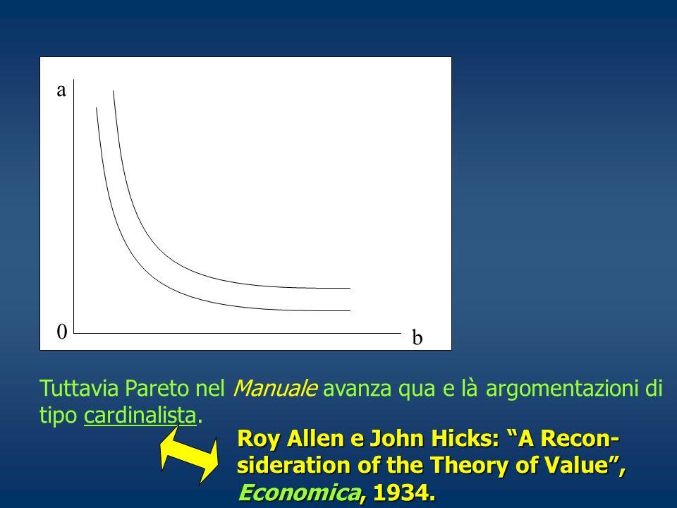0 a b Tuttavia Pareto nel Manuale avanza qua e là argomentazioni di tipo cardinalista. Roy Allen e John Hicks: A Recon- sideration of the Theory of Va