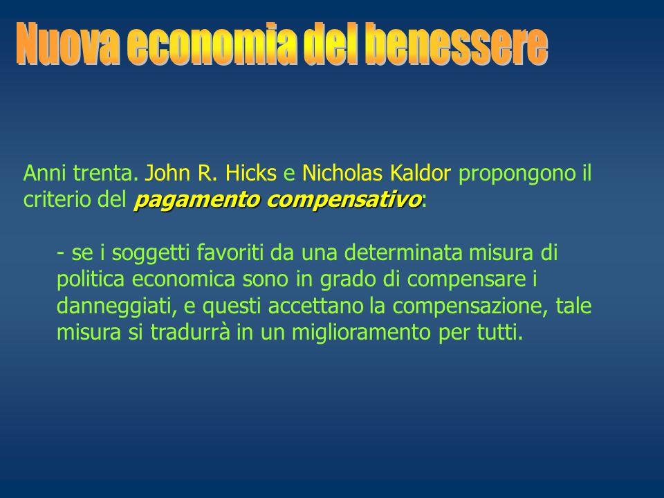 pagamento compensativo Anni trenta. John R. Hicks e Nicholas Kaldor propongono il criterio del pagamento compensativo: - se i soggetti favoriti da una