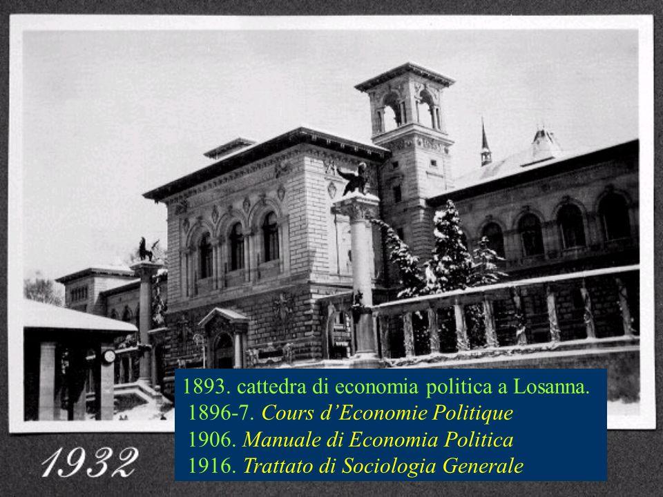 1893. cattedra di economia politica a Losanna. 1896-7. Cours dEconomie Politique 1906. Manuale di Economia Politica 1916. Trattato di Sociologia Gener