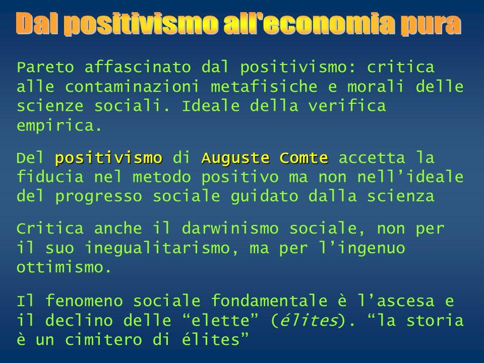 Pareto affascinato dal positivismo: critica alle contaminazioni metafisiche e morali delle scienze sociali. Ideale della verifica empirica. positivism