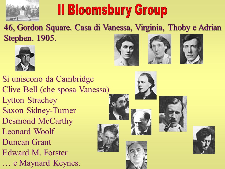 Si uniscono da Cambridge Clive Bell (che sposa Vanessa) Lytton Strachey Saxon Sidney-Turner Desmond McCarthy Leonard Woolf Duncan Grant Edward M. Fors