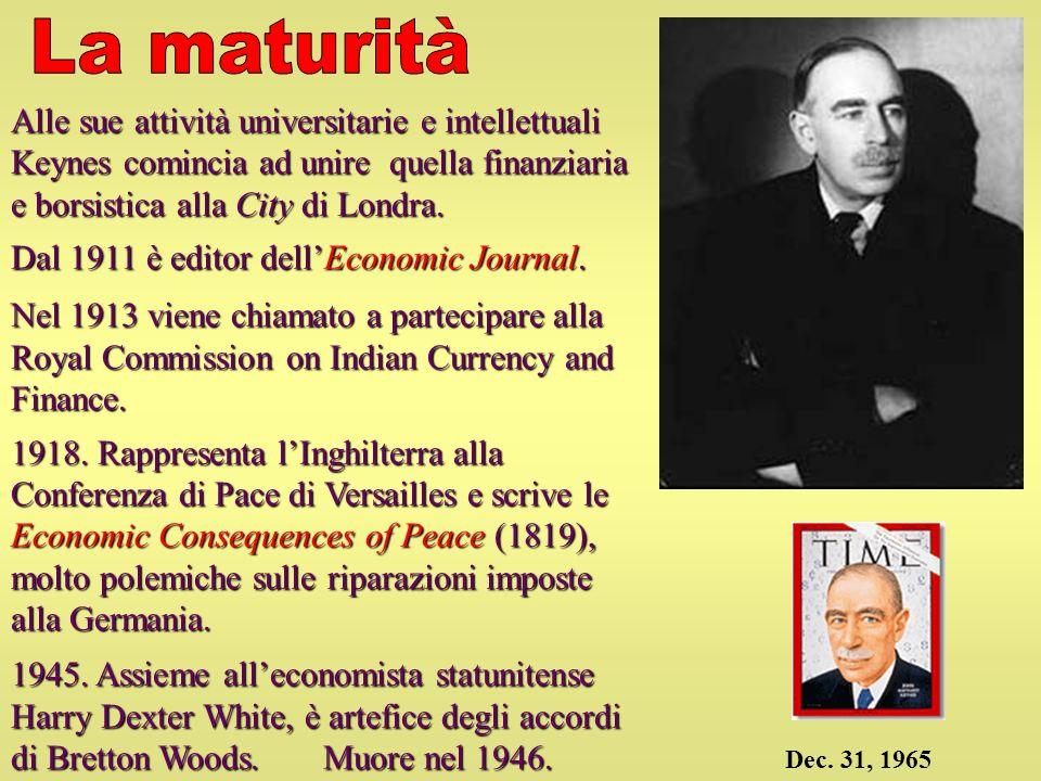 Alle sue attività universitarie e intellettuali Keynes comincia ad unire quella finanziaria e borsistica alla City di Londra. Dal 1911 è editor dellEc