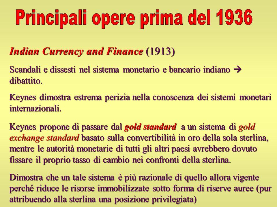 Indian Currency and Finance (1913) Scandali e dissesti nel sistema monetario e bancario indiano dibattito. Keynes dimostra estrema perizia nella conos