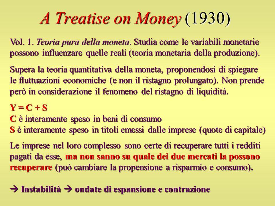 A Treatise on Money (1930) Vol. 1. Teoria pura della moneta. Studia come le variabili monetarie possono influenzare quelle reali (teoria monetaria del