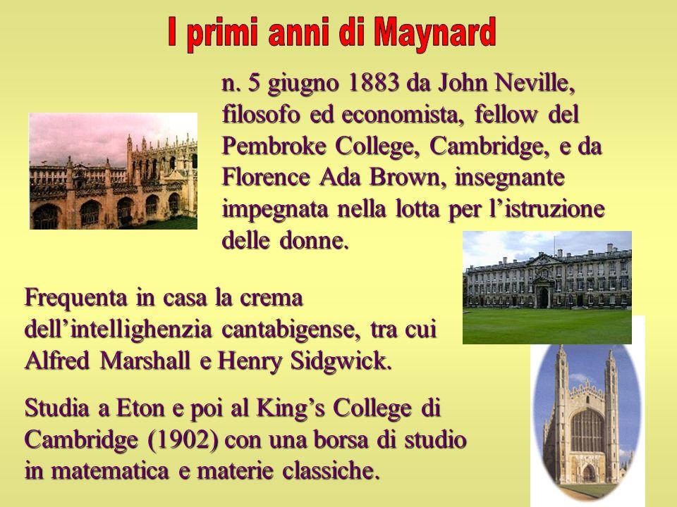 Frequenta in casa la crema dellintellighenzia cantabigense, tra cui Alfred Marshall e Henry Sidgwick. Studia a Eton e poi al Kings College di Cambridg