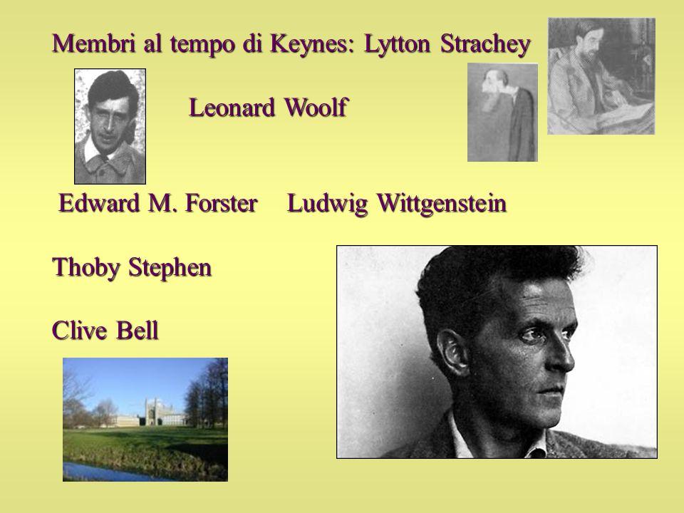 Membri al tempo di Keynes: Lytton Strachey Leonard Woolf Edward M. Forster Ludwig Wittgenstein Edward M. Forster Ludwig Wittgenstein Thoby Stephen Cli