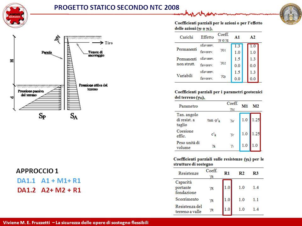 DA1.1A1 + M1+ R1 DA1.2 A2+ M2 + R1 Viviene M. E. Fruzzetti – La sicurezza delle opere di sostegno flessibili PROGETTO STATICO SECONDO NTC 2008 Tiro AP