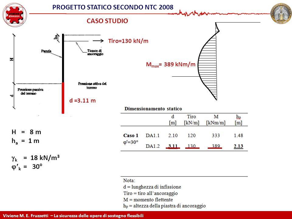STATIC DESIGN ACCORDING EC7 CASO STUDIO Tiro=130 kN/m d =3.11 m M max = 389 kNm/m Viviene M. E. Fruzzetti – La sicurezza delle opere di sostegno fless
