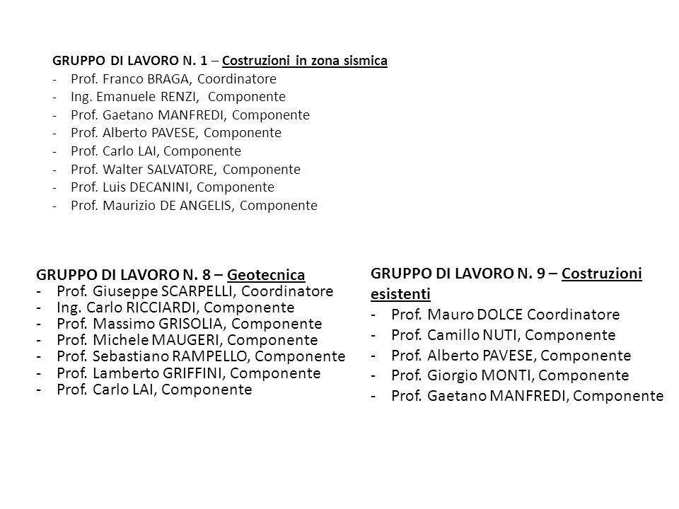 GRUPPO DI LAVORO N. 8 – Geotecnica - Prof. Giuseppe SCARPELLI, Coordinatore - Ing. Carlo RICCIARDI, Componente - Prof. Massimo GRISOLIA, Componente -