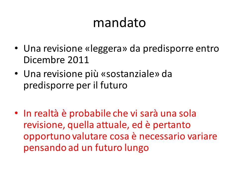 mandato Una revisione «leggera» da predisporre entro Dicembre 2011 Una revisione più «sostanziale» da predisporre per il futuro In realtà è probabile