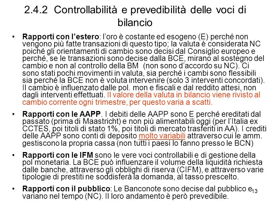 13 2.4.2 Controllabilità e prevedibilità delle voci di bilancio Rapporti con lestero: loro è costante ed esogeno (E) perché non vengono più fatte tran