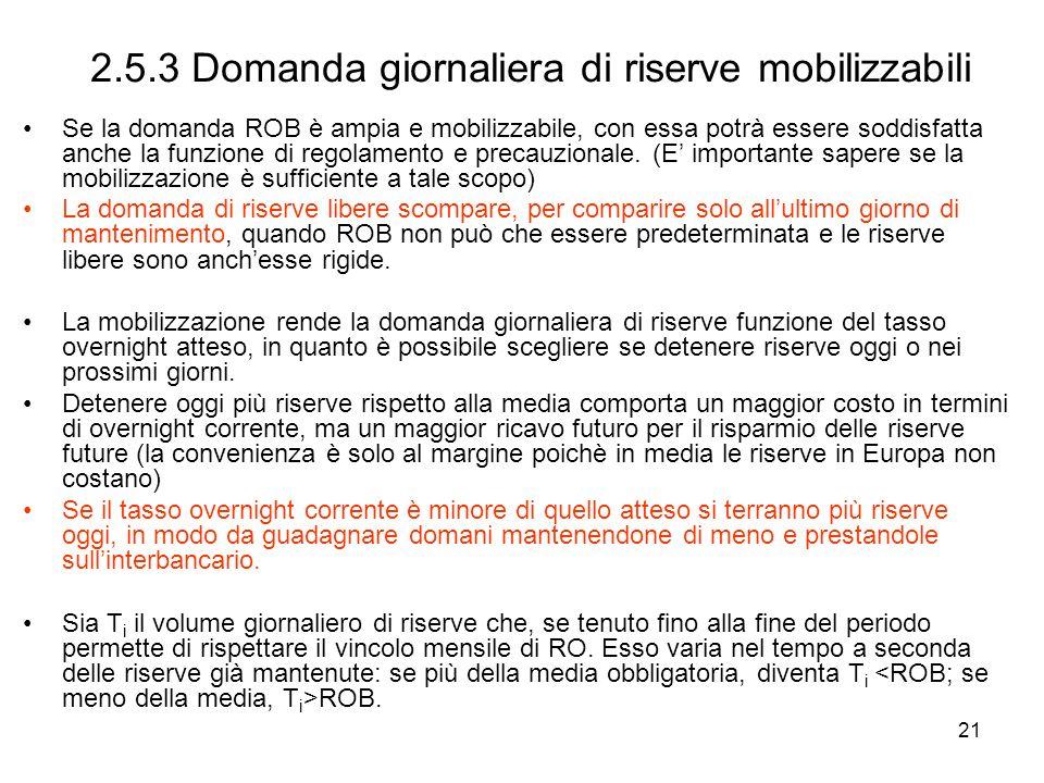21 2.5.3 Domanda giornaliera di riserve mobilizzabili Se la domanda ROB è ampia e mobilizzabile, con essa potrà essere soddisfatta anche la funzione d
