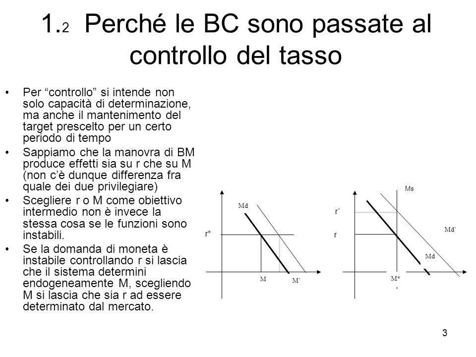 3 1. 2 Perché le BC sono passate al controllo del tasso Per controllo si intende non solo capacità di determinazione, ma anche il mantenimento del tar