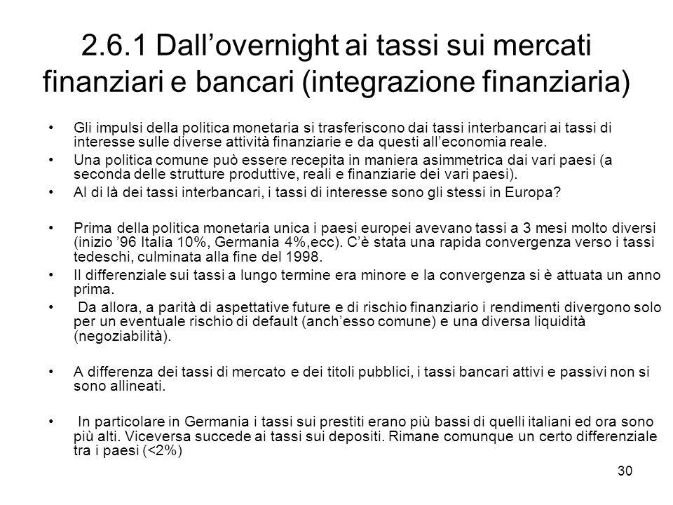 30 2.6.1 Dallovernight ai tassi sui mercati finanziari e bancari (integrazione finanziaria) Gli impulsi della politica monetaria si trasferiscono dai