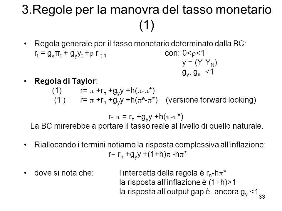 33 3.Regole per la manovra del tasso monetario (1) Regola generale per il tasso monetario determinato dalla BC: r t = g π t + g y y t + r t-1 con: 0<