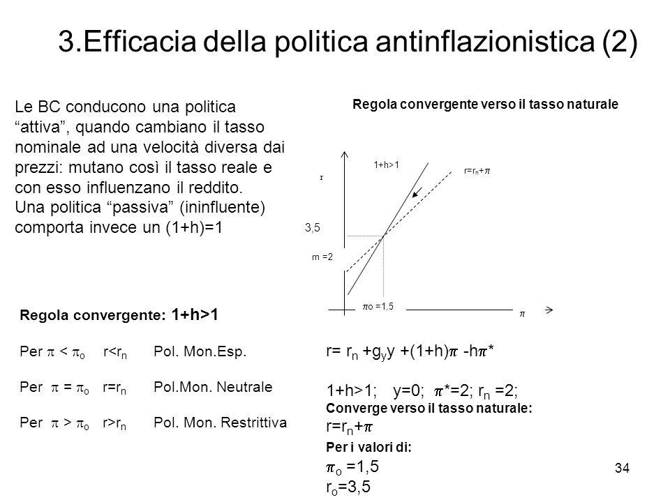 34 3.Efficacia della politica antinflazionistica (2) Regola convergente: 1+h>1 Per < o r<r n Pol. Mon.Esp. Per = o r=r n Pol.Mon. Neutrale Per > o r>r