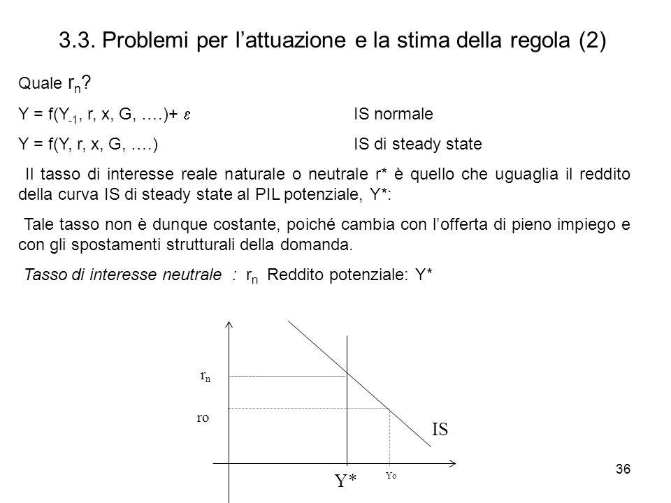 36 3.3. Problemi per lattuazione e la stima della regola (2) Quale r n ? Y = f(Y -1, r, x, G, ….)+ IS normale Y = f(Y, r, x, G, ….)IS di steady state