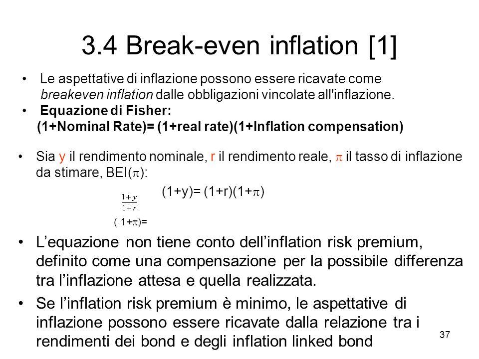 37 3.4 Break-even inflation [1] Le aspettative di inflazione possono essere ricavate come breakeven inflation dalle obbligazioni vincolate all'inflazi